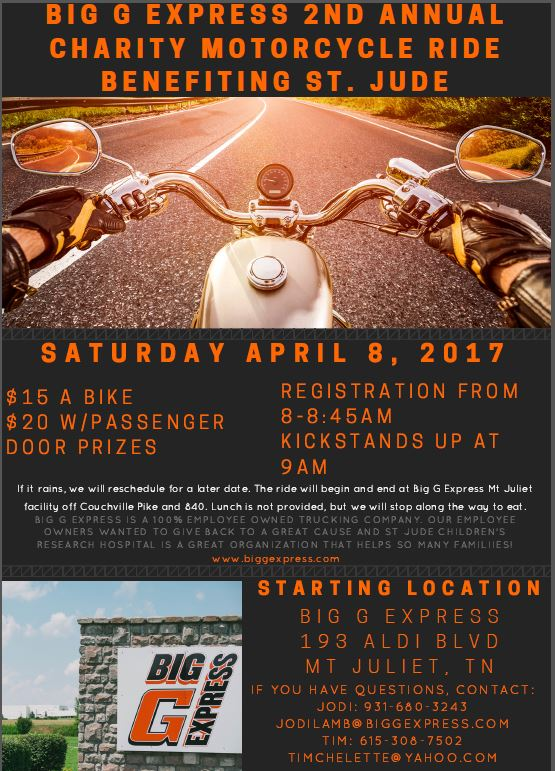2nd Annual Charity Motorcycle Ride Benefiting St Jude